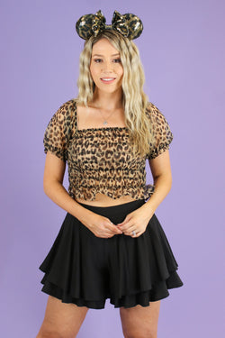 S / Brown Kylen Animal Print Organza Ruched Top - FINAL SALE - Madison and Mallory