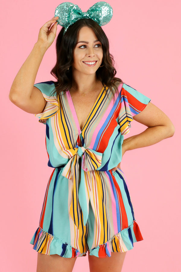 S / Jade See the Rainbow Ruffle Romper - Madison and Mallory