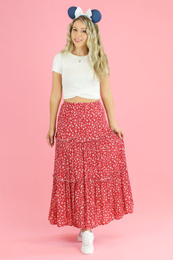 S / Red Geranium Tiered Floral Midi Skirt - Madison and Mallory
