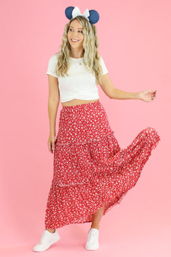 Geranium Tiered Floral Midi Skirt - Madison and Mallory