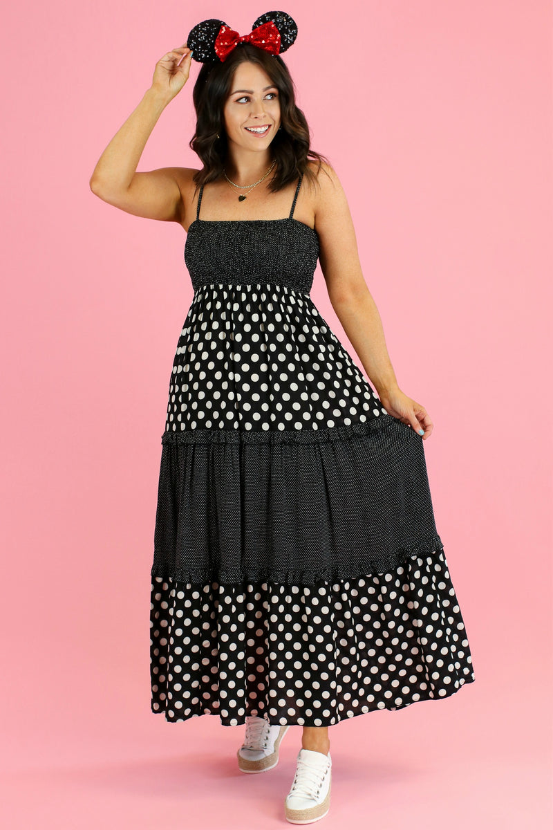 Down Main Street Polka Dot Mix Dress - Madison and Mallory