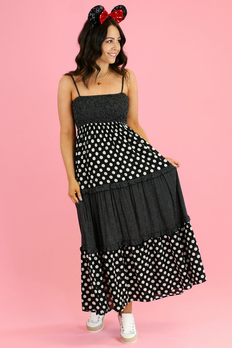S / Black Down Main Street Polka Dot Mix Dress - Madison and Mallory