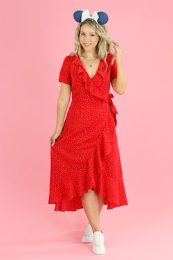 S / Red Tied to Delight Polka Dot Wrap Dress - Madison and Mallory