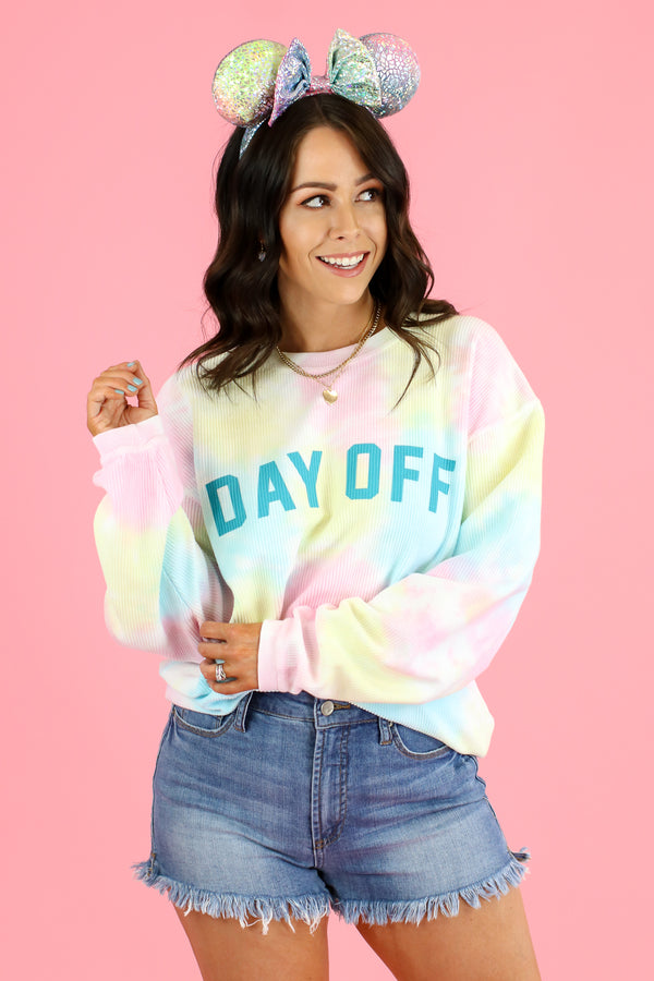 S / Tie Dye Day Off Tie Dye Graphic Pullover - Madison and Mallory