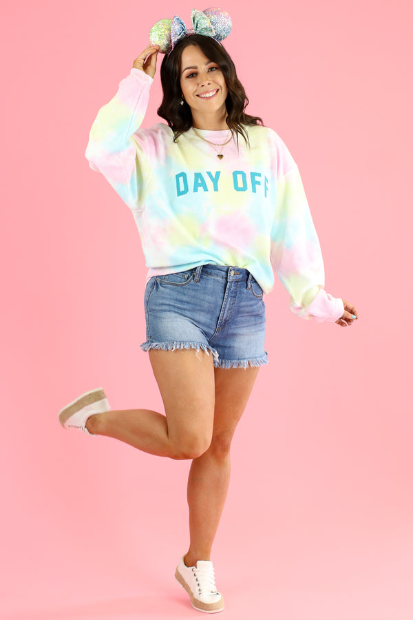 Day Off Tie Dye Graphic Pullover - Madison and Mallory