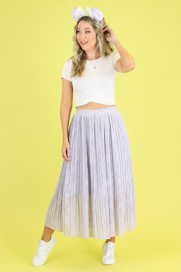 S / Lavender Stroke of Midnight Midi Skirt - Madison and Mallory
