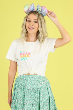 S / White Hi Hello Hola Hey Graphic Top - Madison and Mallory