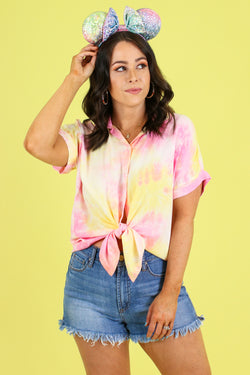 S / Pink Evening Sun Tie Dye Top - Madison and Mallory