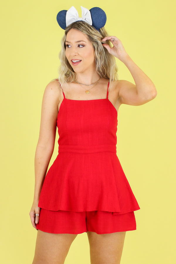 S / Red Know You Better Ruffle Romper - Madison and Mallory