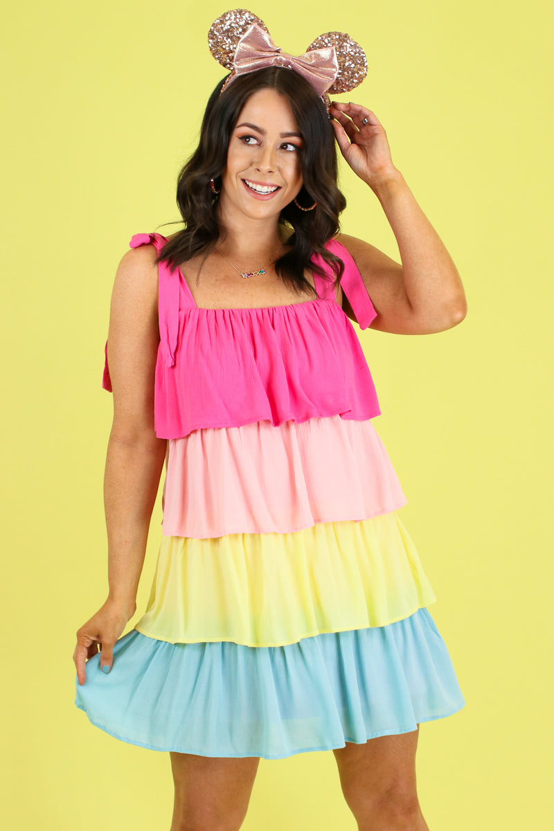 S / Pink Combo Seize the Daydream Rainbow Dress - Madison and Mallory
