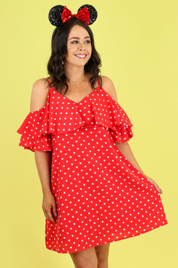 Cherry / S It's Charming Polka Dot Dress - FINAL SALE - Madison and Mallory