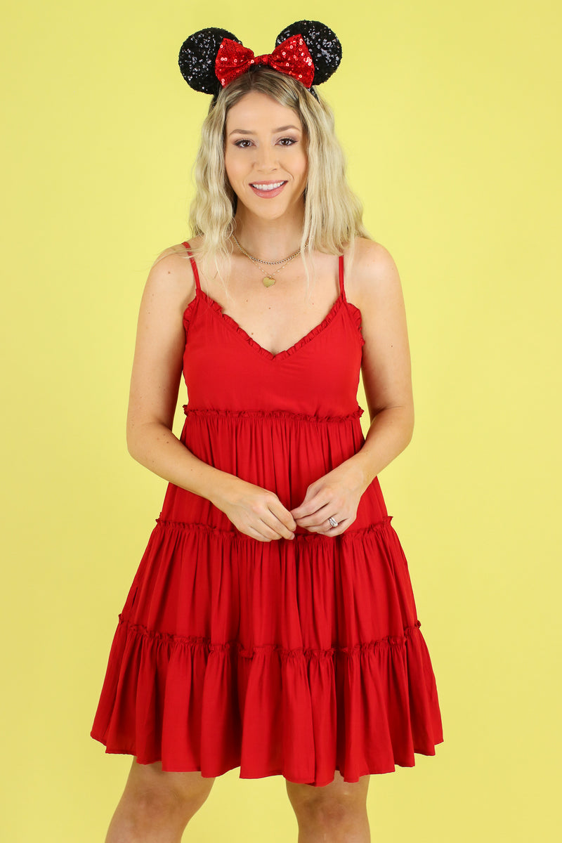 S / Red Melody Time Ruffle Tiered Dress - Madison and Mallory