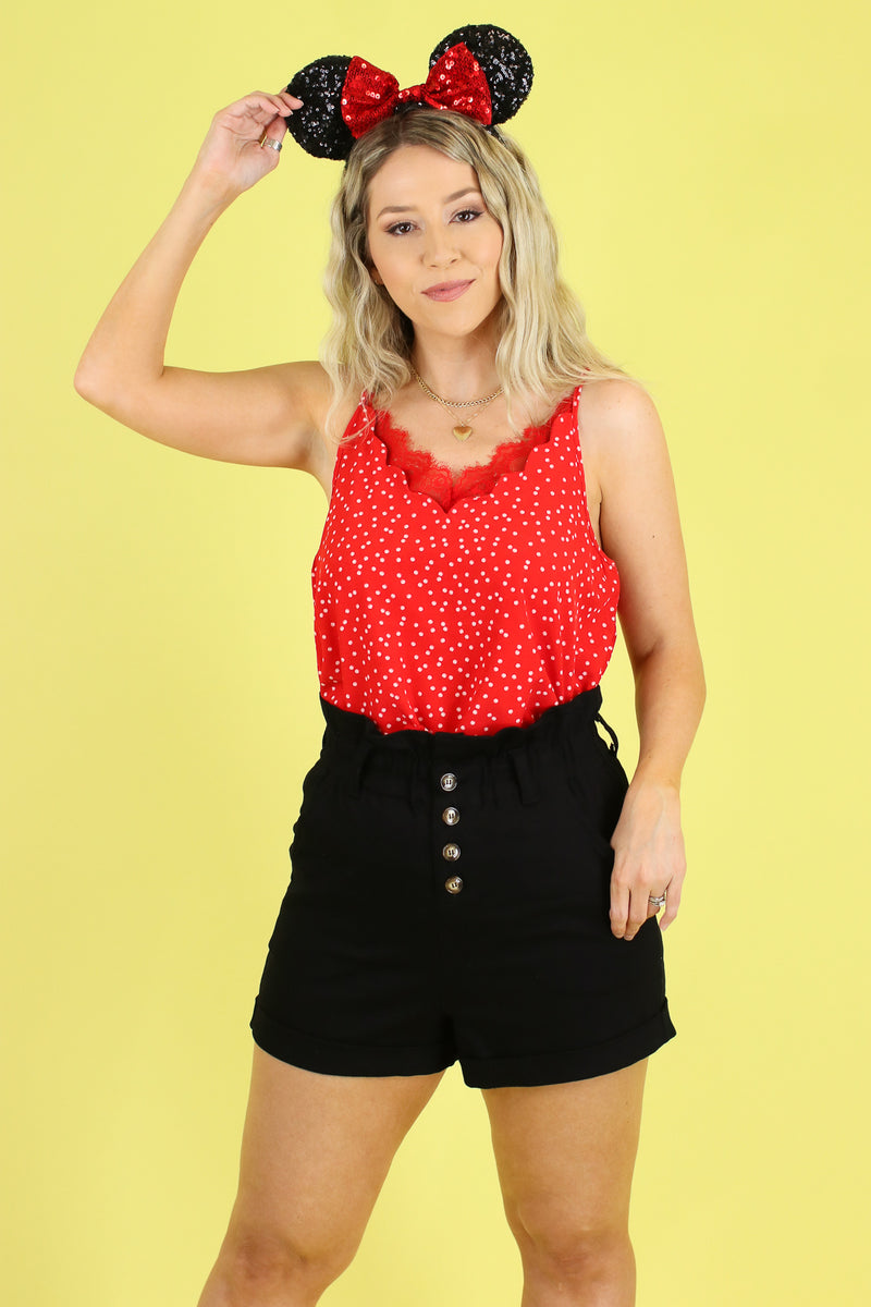 S / Red Arianna Polka Dot Lace Tank - Madison and Mallory