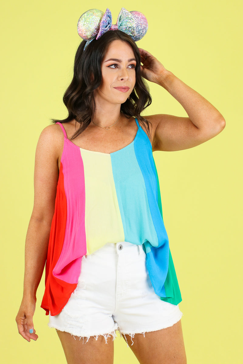 S / Rainbow Lighthearted Rainbow Stripe Top - FINAL SALE - Madison and Mallory
