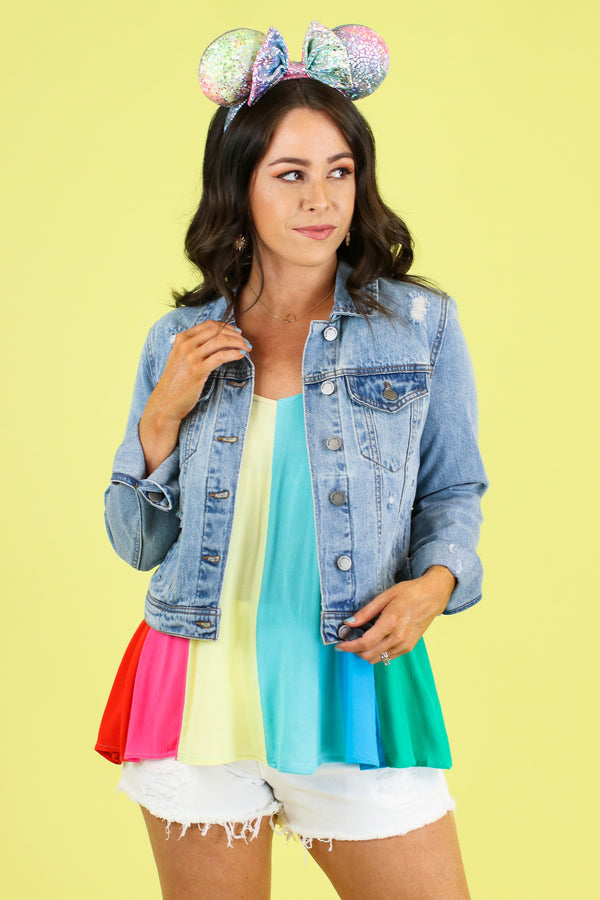 Lighthearted Rainbow Stripe Top - Madison and Mallory