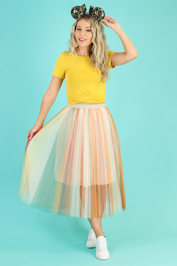 S / Yellow Feeling Fine Multi Striped Tulle Skirt - Madison and Mallory