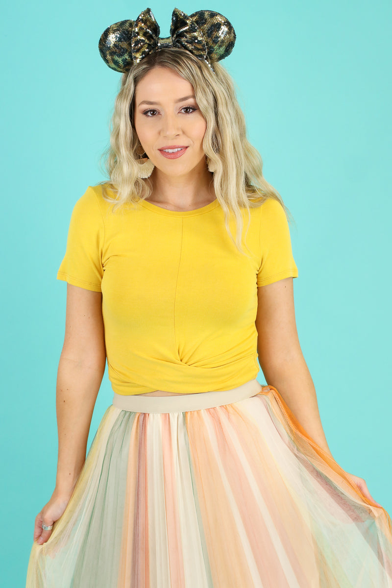 Mustard / S Totally Knot Twist Front Top - Madison and Mallory
