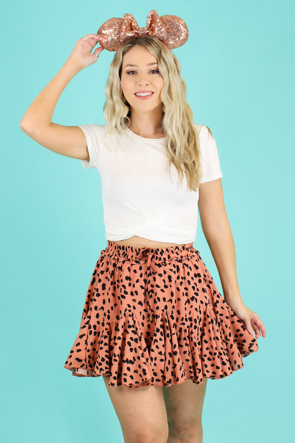 S / Coral Bungalow Leopard Print Skirt - FINAL SALE - Madison and Mallory