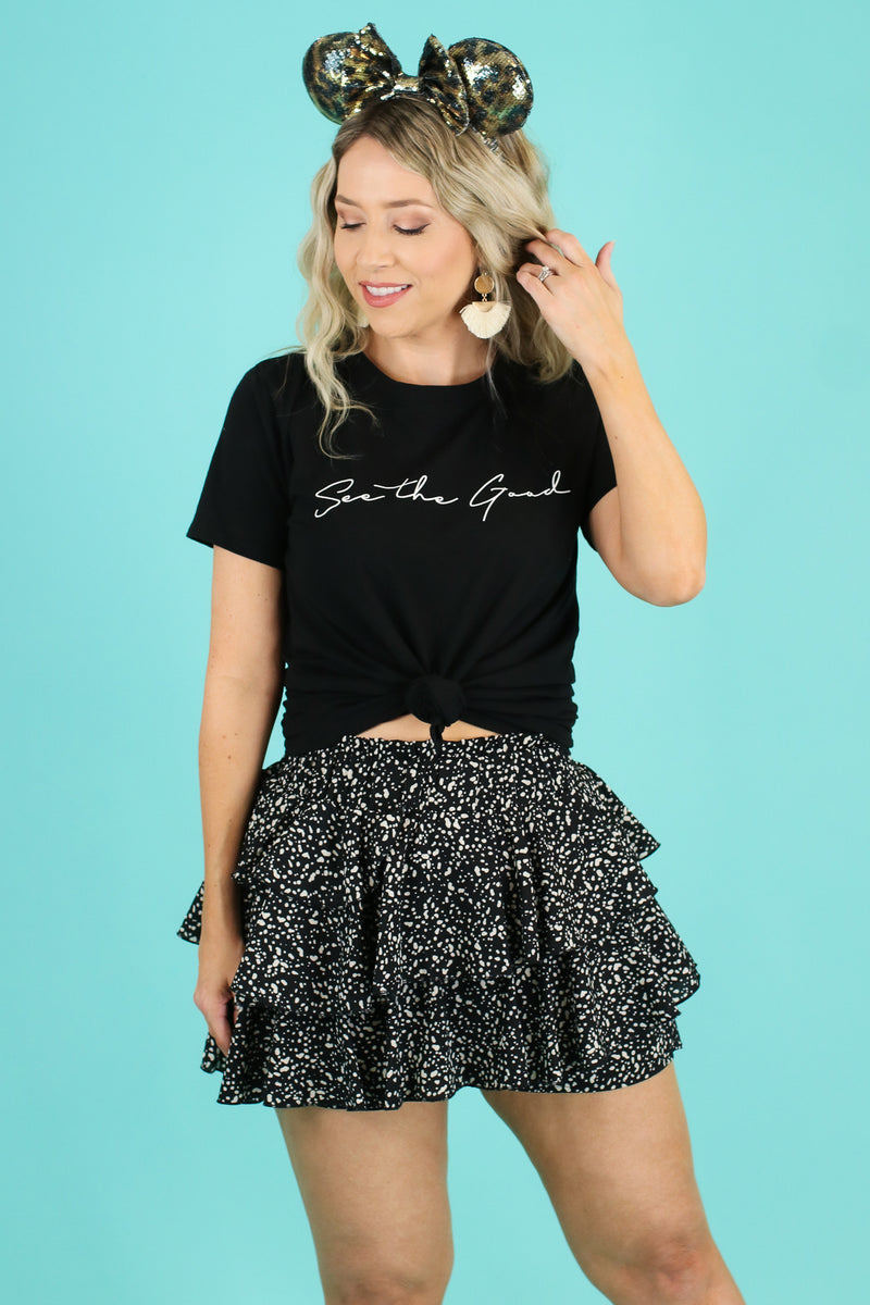 Black / S Drizella Floral Ruffle Skort - Madison and Mallory