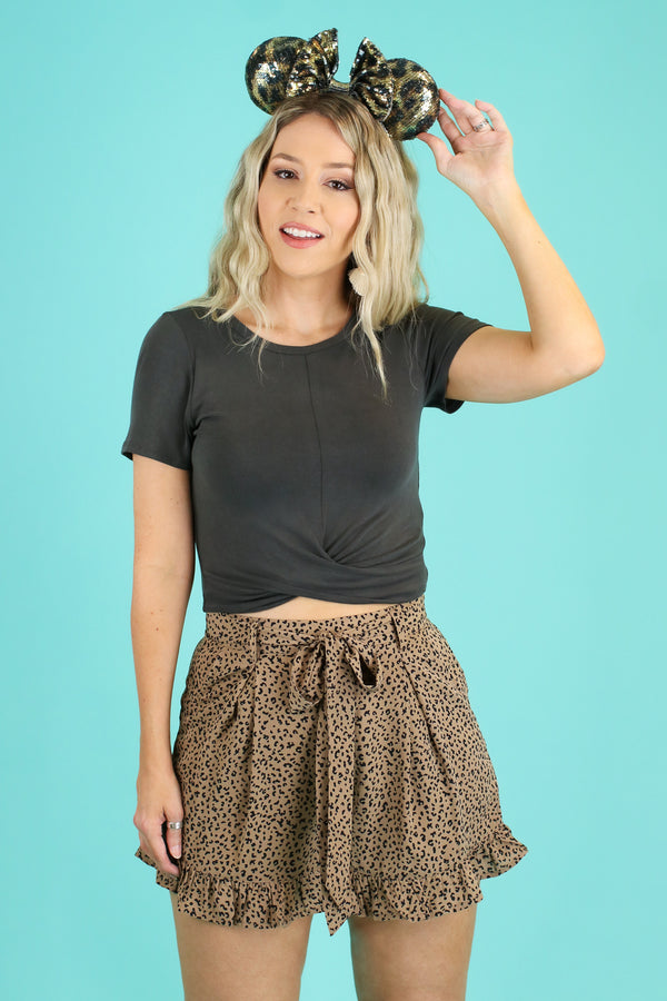 S / Taupe Raksha Leopard Ruffle Shorts - Madison and Mallory