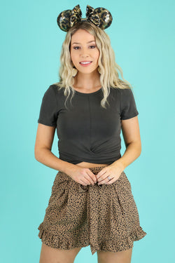 Charcoal / S Totally Knot Twist Front Top - Madison and Mallory