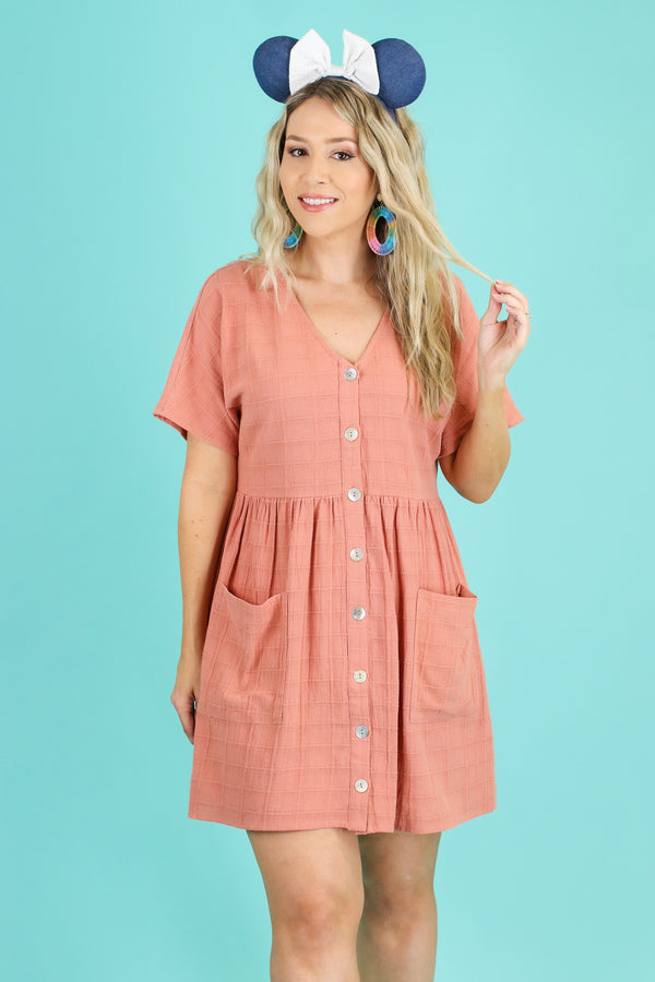 Salmon / S Sunbathe Button Down Babydoll Dress | CURVE - FINAL SALE - Madison and Mallory