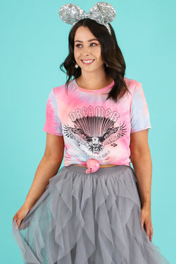 S / Pink Dreamer Tie Dye Graphic Top - Madison and Mallory