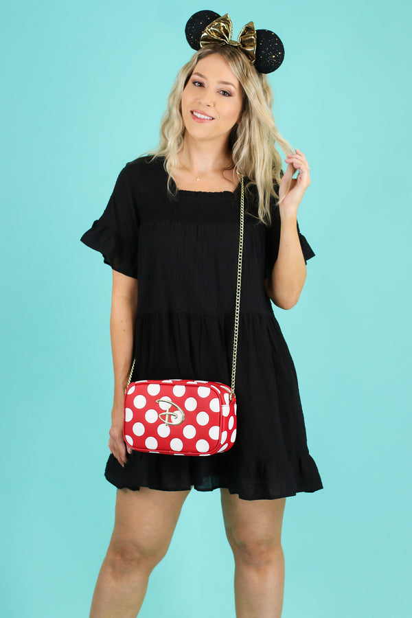 Black / S Sweet Dreamer Swiss Dot Ruffle Dress | CURVE - Madison and Mallory