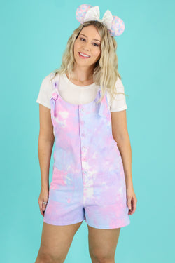 S / Pink Fast Pass Tie Dye Knot Romper - FINAL SALE - Madison and Mallory