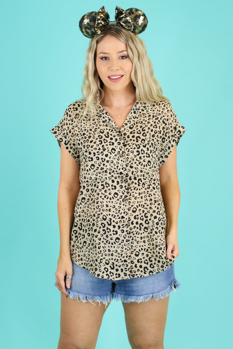 Cannes Animal Print Button Top - FINAL SALE - Madison and Mallory