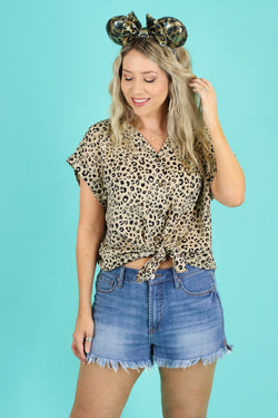 S / Sand Cannes Animal Print Button Top - Madison and Mallory