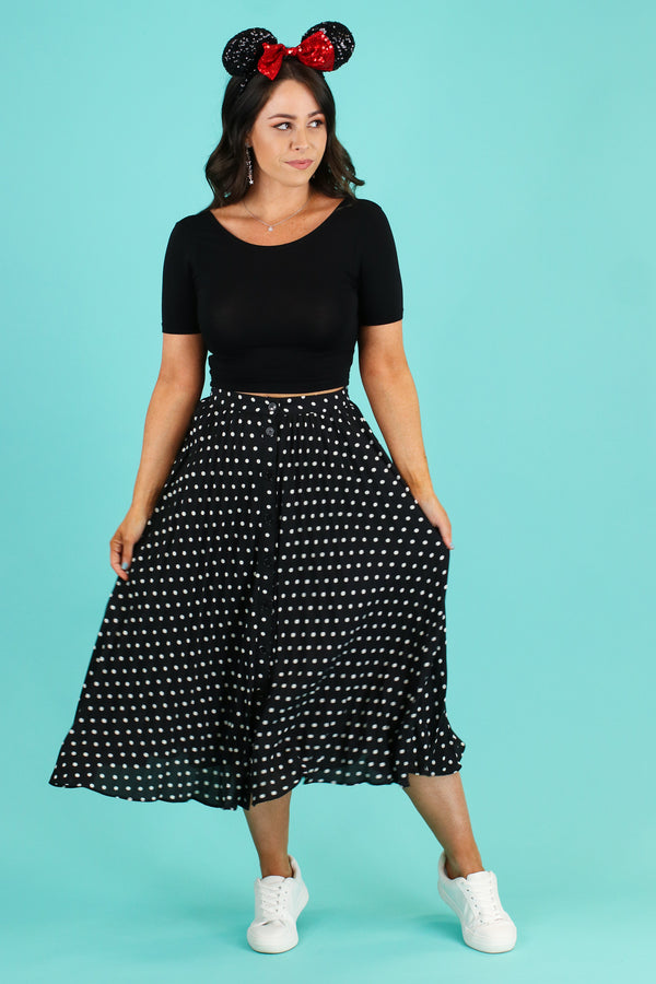 S / Black Better than a Dream Pleated Dot Skirt - FINAL SALE - Madison and Mallory