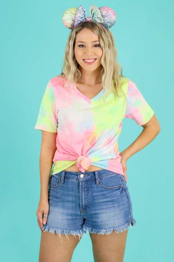 S / Fuchsia Happier Now Tie Dye Top | CURVE - Madison and Mallory