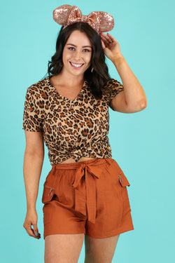 S / Camel Zira Leopard Print Top - Madison and Mallory