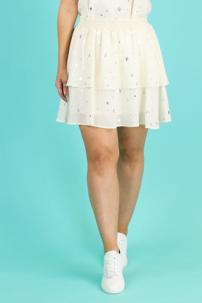S / Ivory Whimsical Dreams Star Flounce Skirt - Madison and Mallory