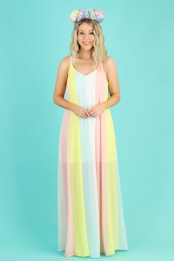 S / Pastel Combo Make a Wish Pastel Rainbow Maxi Dress | CURVE - Madison and Mallory