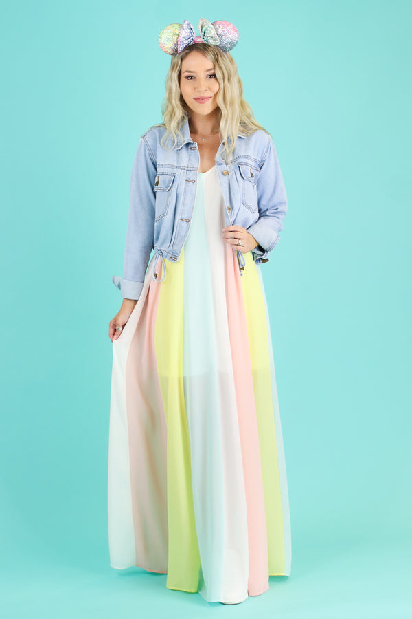 Make a Wish Pastel Rainbow Maxi Dress | CURVE - FINAL SALE - Madison and Mallory