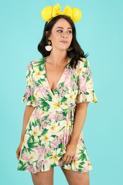 Natural / S On Every Shore Tropical Print Romper - Madison and Mallory