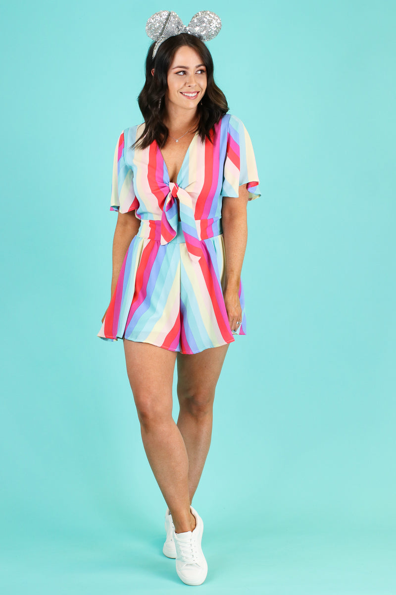 Inspire Optimism Rainbow Knot Romper - Madison and Mallory