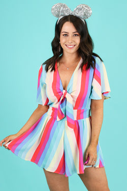 S / Multi Inspire Optimism Rainbow Knot Romper - Madison and Mallory