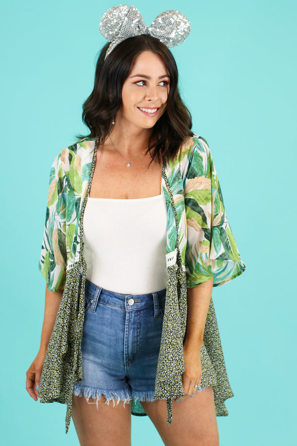 S / Green See the World Tropical Kimono | CURVE - Madison and Mallory