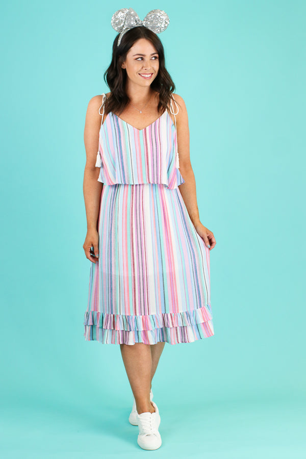 S / Blue Out in the Sun Multi Stripe Dress - FINAL SALE - Madison and Mallory