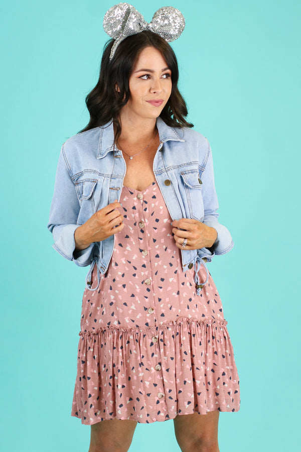 S / Mauve Cheshire Printed Tiered Button Dress - FINAL SALE - Madison and Mallory