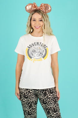 S / Ivory Adventure Awaits Circle Graphic Top - Madison and Mallory