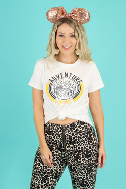 Adventure Awaits Circle Graphic Top - Madison and Mallory