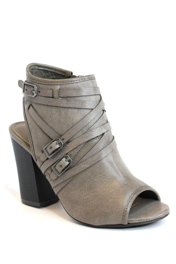 6.5 / Gray Buckled Peep Toe Heeled Booties - Madison + Mallory