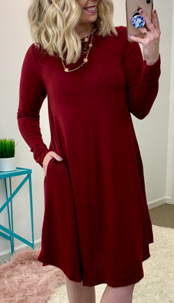 Wine / S Anaya Knit Sweater Dress - Madison + Mallory