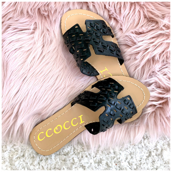 Easy Go Cutout Strap Sandals - Black - FINAL SALE - Madison + Mallory