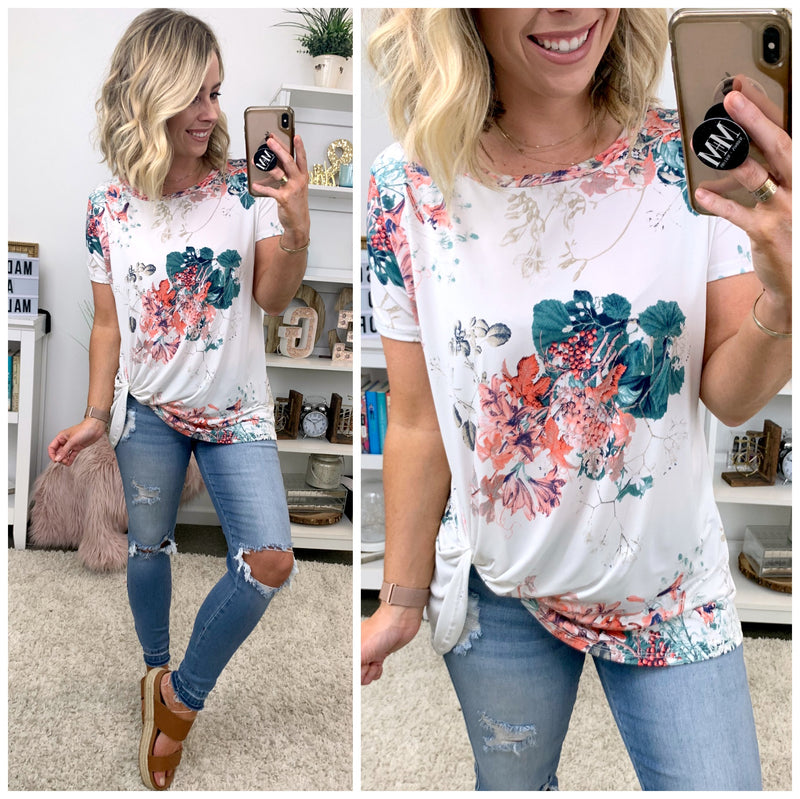 Elevate Floral Hem Twist Top - Madison + Mallory