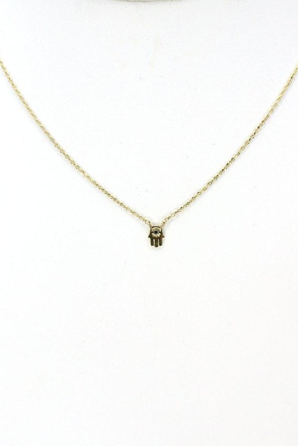 Gold 14KT Hamsa Hand Necklace - Madison + Mallory